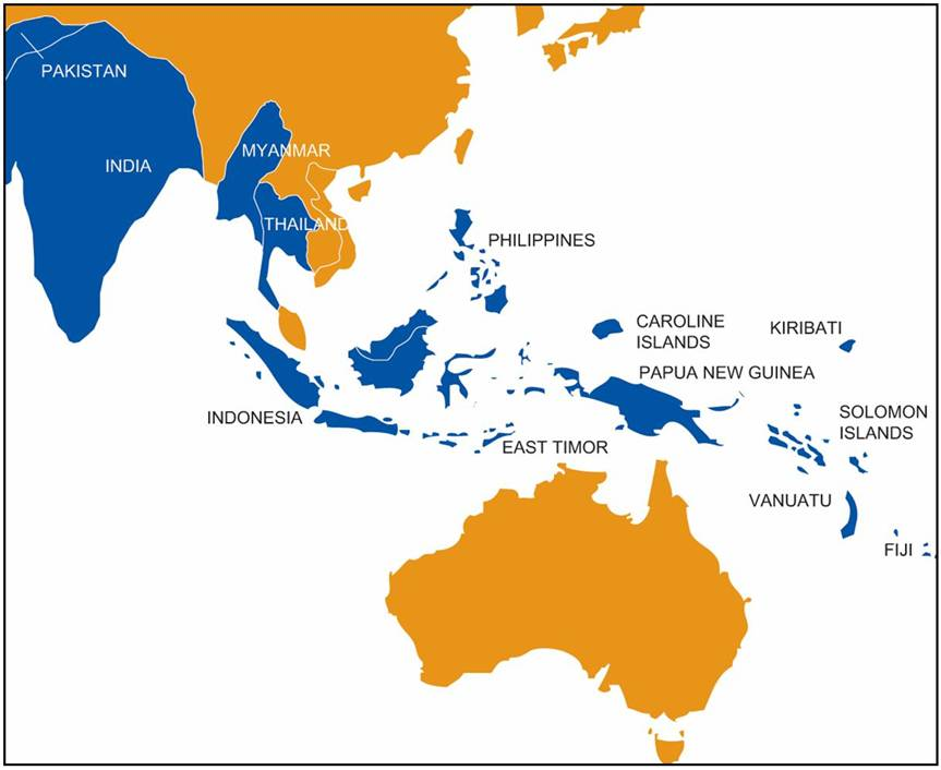 Map Of Australia And Neighbouring Countries.By B Hints Australia Neighbouring Countries Map